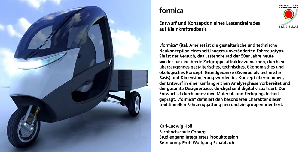 Formica, Lastendreirad, Karl-Ludwig Holl, integriertes Produktdesign, Lucky Strike Award, Hochschule Coburg