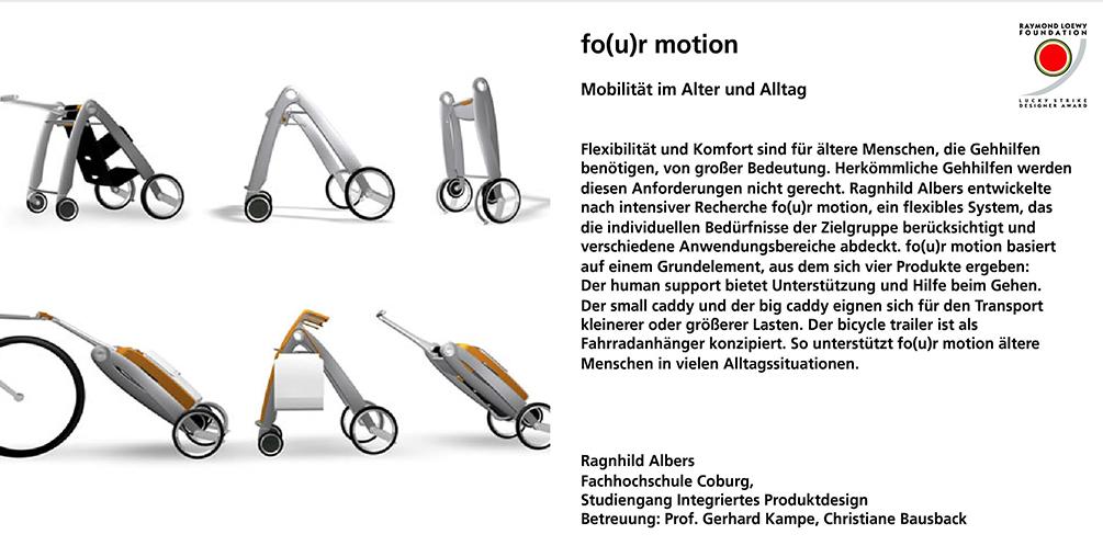 Fo(u)r Motion, Mobilität im Alter und Alltag, integriertes Produktdesign, Lucky Strike Award, Hochschule Coburg