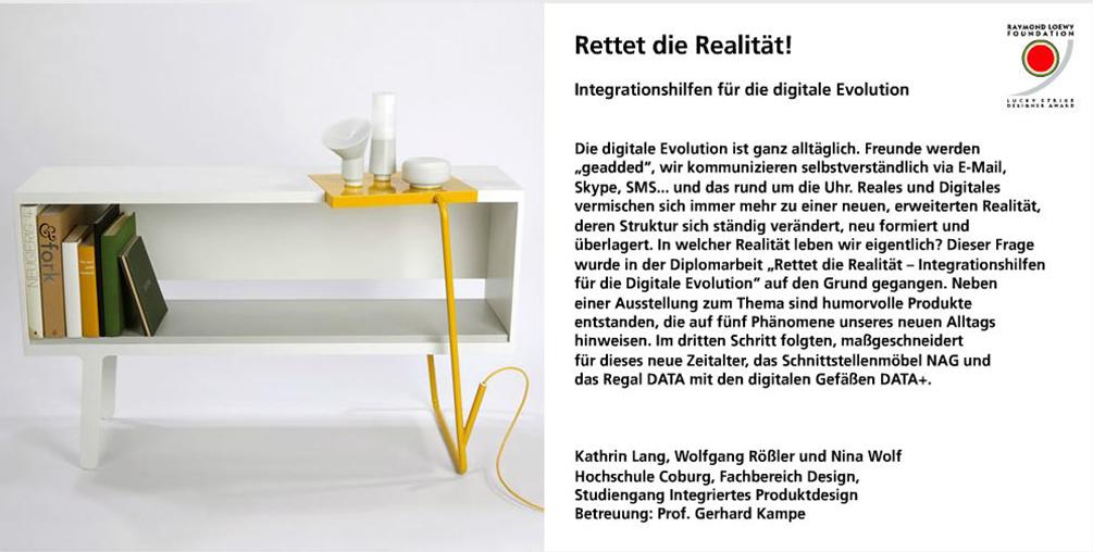 Kathtin Lang, Wolfgang Rößler, Nina Wolf, Rettet die Realität, nju Studio, integriertes Produktdesign, Hochschule Coburg, Lucky Strike Design Award