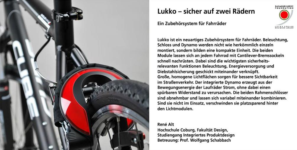 Lukko, René Alt, integriertes Produktdesign, Hochschule Coburg, Lucky Strike Design Award