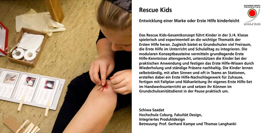 Rescue Kids, Schiwa Saadat, integriertes Produktdesign, Hochschule Coburg, Lucky Strike Design Award